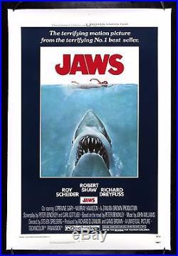 JAWS CineMasterpieces ORIGINAL VINTAGE MOVIE POSTER ROLLED SHARK HORROR 1975