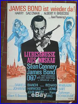 James Bond 007 FROM RUSSIA WITH LOVE rare vintage German 1-sheet 1968 unfolded