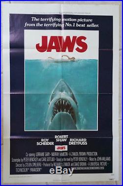 Jaws Original Vintage Movie Poster One Sheet 1975 B