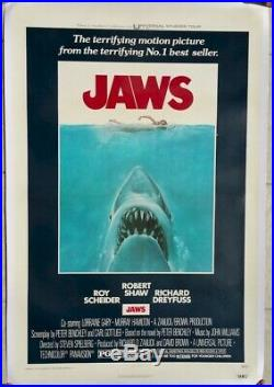 Jaws Vintage Movie Poster One Sheet 1975 Linen Backed A