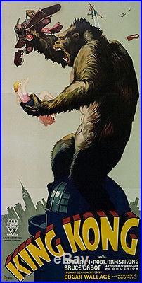 KING KONG 1933 Fritz Lang Vintage 3 Sh Movie Poster Lith. S2 Art GRP LT 41X 81