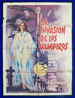 LA INVASION DE LOS VAMPIROS Horror Sexy MEXICAN MOVIE POSTER 1961 Vintage