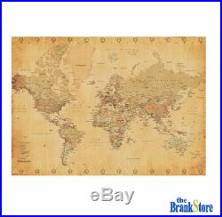 Large World Map Poster Vintage Wall Picture Retro Art Giant School Globe Banner