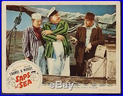 Laurel & Hardy Saps At Sea Original Vintage Lobby Card