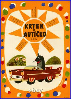 Little Mole (Krtecek) Krtek a auticko Czech animation rare vintage movie poster