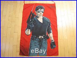 NOS 1986 vtg SYLVESTER STALLONE cobra MOVIE banner WALL FLAG tapestry POSTER 80s