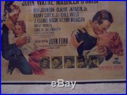 ORIGINAL 1950 RIO GRANDE John Ford's John Wayne VINTAGE MOVIE POSTER