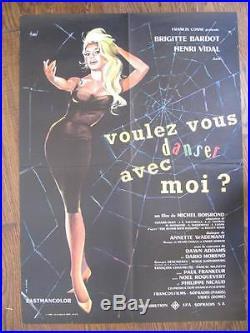 ORIGINAL 1960s VINTAGE FILM QUAD POSTER BARDOT'Voulez-Vous Danser Avec Moi