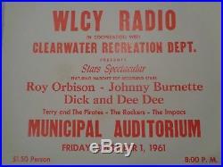 Original'61 Vintage Advertising Concert Poster/Card Roy Orbison Johnny Burnette