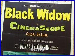 Original Vintage 1954 Black Widow Movie Poster Insert Film Noir Mystery