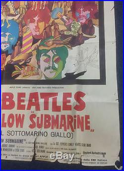 Original Vintage Beatles Yellow Submarine Italian Movie Poster from 1968