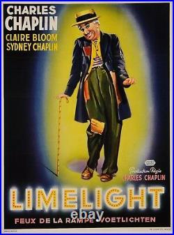 Original Vintage Belgian Movie Poster for Limelight Charlie Chaplin Charlot