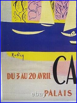 Original Vintage Cannes French Film Festival Poster in Linen 1951