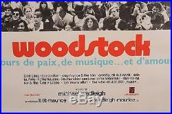 Original Vintage French Movie Poster Advertising Woodstock Music Festival 1969