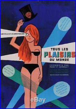 Original Vintage French Movie Poster Tous Les Plaisirs du Monde Savignac 60's