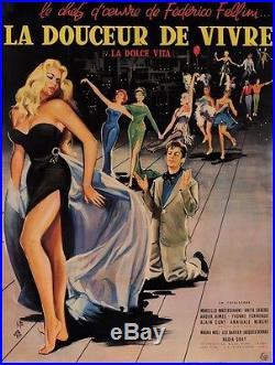 Original Vintage French Movie Poster for La Dolce Vita Fellini Signed 1960