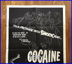 Original Vintage Movie Poster COCAINE THRILL THAT KILLS Folded One Sheet Sexy