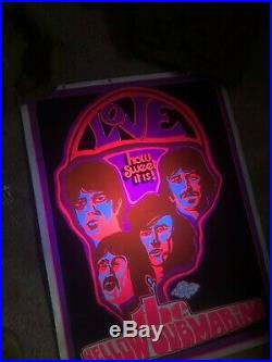 Original Vintage Poster Beatles Love the Yellow Submarine 1960s Music Blacklight