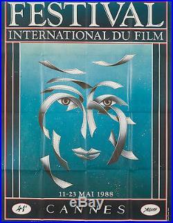 Original Vintage Poster Cannes Film Festival French 1988 Movies Modern Cinema