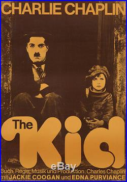 Original Vintage Poster Charlie Caplin Silent Film The Kid German 1970s Reissue