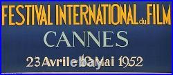 Original Vintage Poster Jean Don 5th International Film Festival Cannes 1952