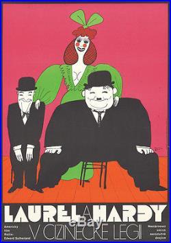 Original Vintage Poster Laurel Hardy Comedy Polish Cartoon Film Movie Cinema 70s