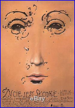 Original Vintage Poster Life is Sweet Polish Film Poster Movie British Comedy