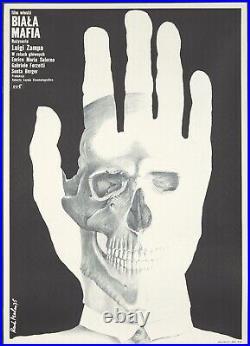 Original Vintage Poster Polish Film Biala Mafia Italian 1975 Skull