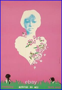 Original Vintage Poster Polish Month in the Countryside Dogs heart flowers 1977