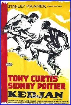 Original vintage poster THE DEFIANT ONES CURTIS-POITIER MOVIE c. 1958
