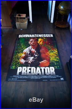 PREDATOR Schwarzenegger 4x6 ft Vintage French Grande Movie Poster Original 1987