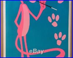 Pink Panther Original Vintage Blacklight Poster 1970s Cartoon Comic Movie 70s