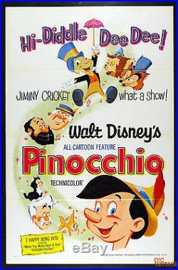 Pinocchio R1971 Vintage Original Movie Poster 26 x 39 1 Sheet