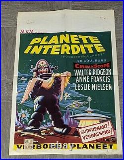 Planete Interdite Movie Poster 1956 Very Rare Vintage 22x15 Forbidden Planet
