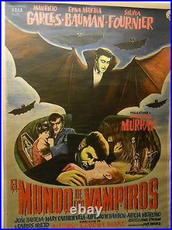 Poster Horror Movie World Of Vampires Mexico Full Sheet Vintage 1961 COA