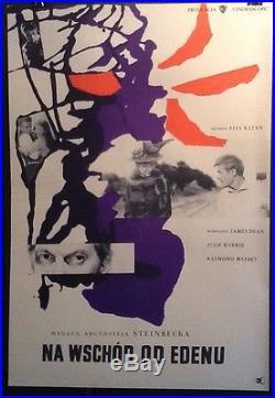 RARE 1959 Wojciech Fangor East of Eden Vintage Polish Movie Poster JAMES DEAN