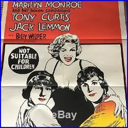 RARE VINTAGE Australian Litho Movie Poster Marilyn Monroe Some Like It Hot NR