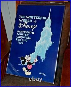 RARE Vintage Dartmouth Winter Carnival Disney Winterful Poster c1974- Framed