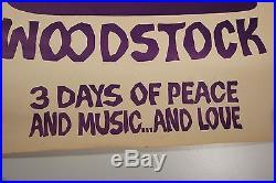 RARE Vintage woodstock music movie promotion poster. Purple dove guitar