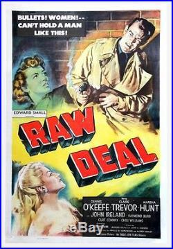 RAW DEAL (1948) Vntg orig one sheet O'KEEFE, TREVOR linen-backed FILM NOIR VryGd
