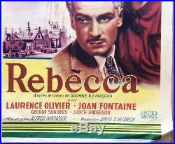 REBECCA original vintage movie poster HITCHCOCK OLIVIER 1940