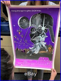 Rare Star Wars 1977 Visual Arts Reflective Poster 30 x 21 Vintage Lithograph EXC