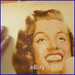 Rare VTG 1950s Marilyn Monroe Life Size Poster Original Blonde pin-up playboy