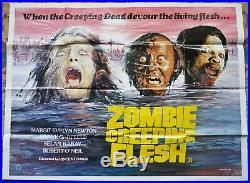 Rare Vintage Zombie Creeping Flesh quad film poster 1980 Horror