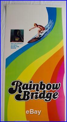 Rare Vtg 1972 JIMI HENDRIX Rainbow Bridge Insert Movie Poster 14x36 Surfer Print