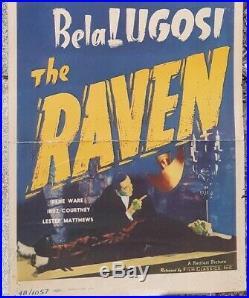 Raven Original Vintage Movie Poster Insert Boris Karloff Bela Lugosi 1948