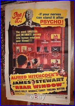 Rear Window Hitchcock Jimmy Stewart Original 1 Sheet Vintage Movie Poster 1962 R