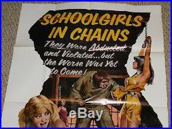 SCHOOLGIRLS IN CHAINS 1973 Vintage One Sheet Movie Poster Horror Sexploitation