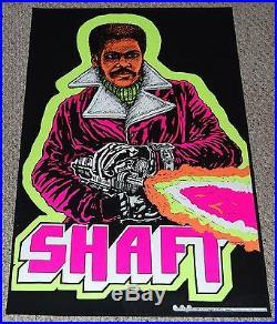 SHAFT Machine Gun Blacklight Poster 1973 movie Black Power Pride Blaxploitation