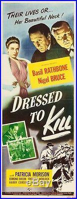 Sherlock Holmes Dressed to Kill Original Vintage Movie Poster Insert Rathbone